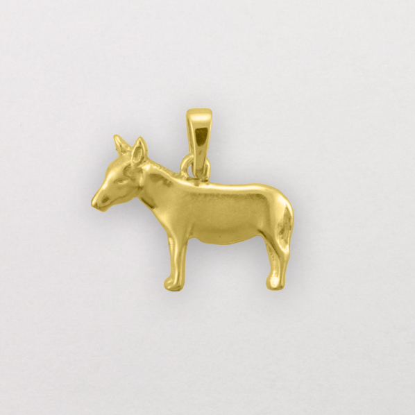 14k Yellow Gold Donkey Pendant